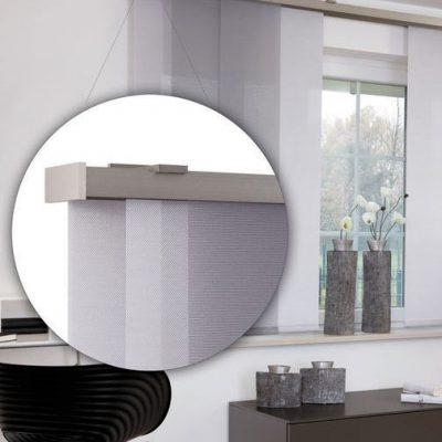 Teba Flächenvorhang Duisburg 2679, 2700 grau Fenstersituation / Detail