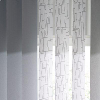 Teba Lamellenvorhang L1-Anlage 3003, 3083, 3084 weiß-grau  Farbmuster